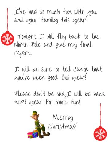 printable elf on the shelf goodbye letter this worthey life elf on the shelf goodbye free printable letter simple