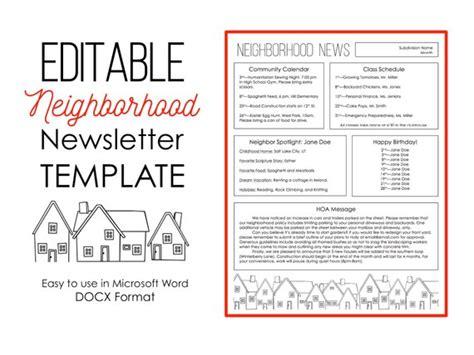 Newsletter Template For Microsoft Word Neighborhood Etsy Hoa Directory Template