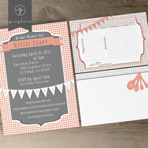 wedding shower recipe card template bridal shower printable invites and recipe cards on behance