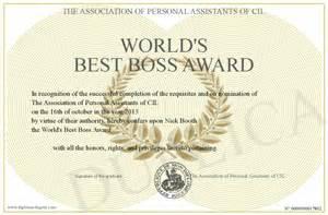 world s best boss award