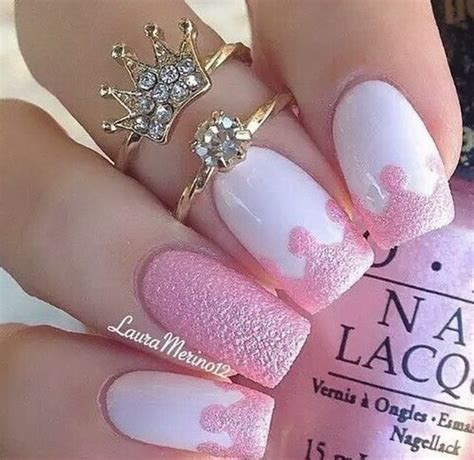 cute nail designs with a crown 50 lovely pink and white nail art designs