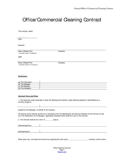 commercial cleaning contract templates 13 best images of cleaning service agreement sle