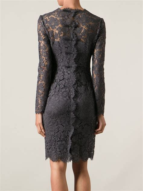 valentino lace sheath dress in gray grey lyst