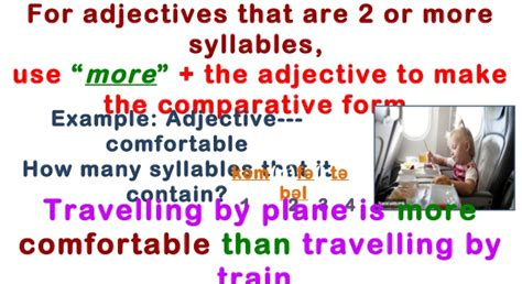 how many syllables in comfortable comparative and superlative of adjectives