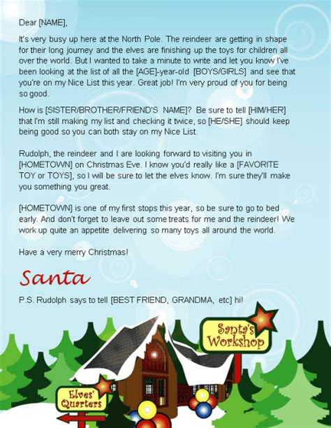 letter from santa template letter from santa template word where to send your