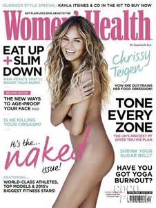 Chrissy teigen is completely naked for her glowing issue of women s