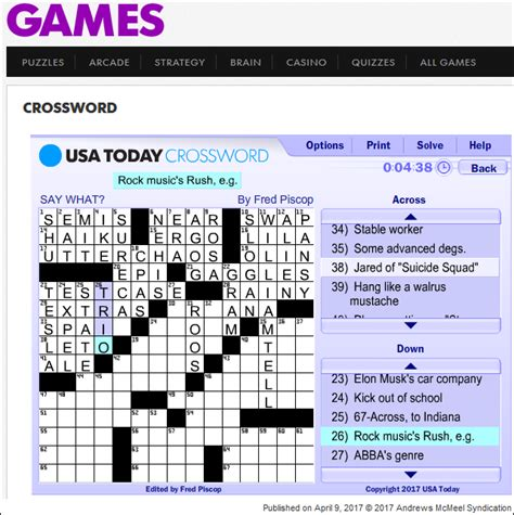 usa today crossword clue answers power windows a tribute to rush
