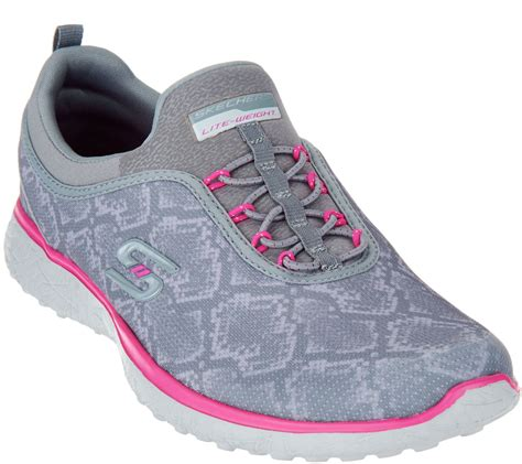 qvc sneakers quot as is quot skechers print bungee slip on sneakers mamba
