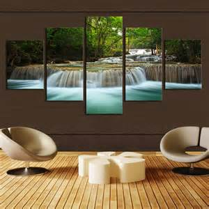 5 panel waterfall painting canvas wall picture home