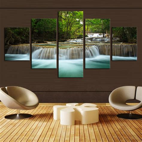 waterfall home decor 5 panel waterfall painting canvas wall art picture home
