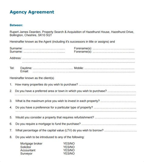agency agreement template uk sle agency agreement template 9 free documents in pdf