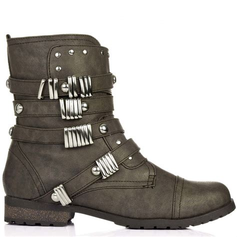 buy rebel flat stud ankle biker boots khaki leather style