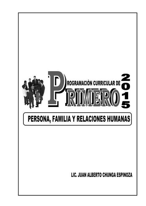 programacion de persona familia y relaciones humanas de 4 de secundaria programacion anual de persona familia y relaciones humanas
