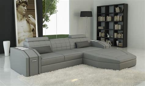 divani casa  modern grey bonded leather sectional sofa