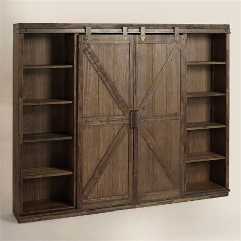 wood brown farmhouse barn door bookcase