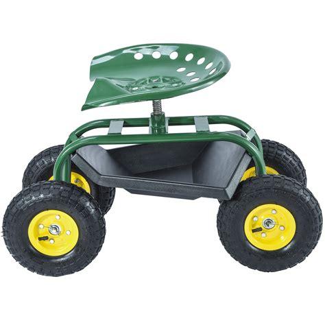 Rolling Garden Work Seat by Green Rolling Garden Cart Work Seat W Heavy Duty Tool Tray