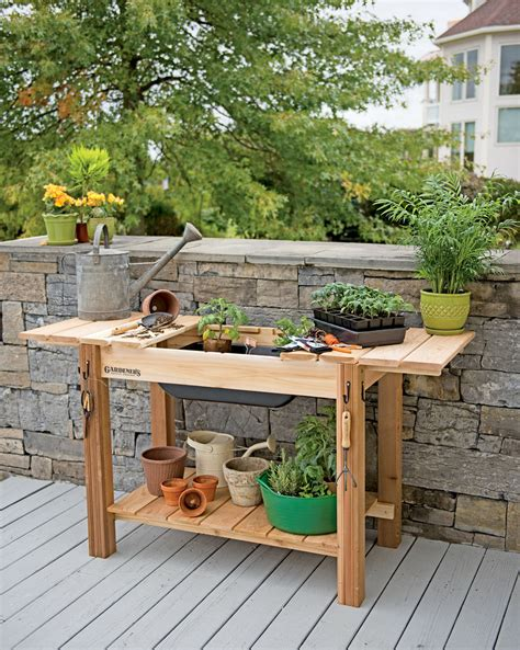 potting bench sink potting bench cedar potting table with soil sink