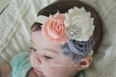 newborn baby headband bows shabby chic headband items similar to newborn headband shabby chic headband