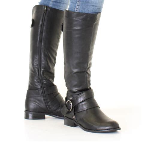 black knee high boots low heel womens black leather look low heel biker flat