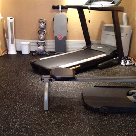 exercise room i put a rubber floor in for the home