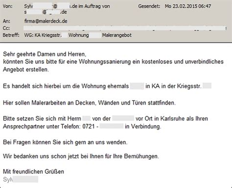 Angebot Muster E Mail Kein Angebot Abgeben Archives Malerdeck Ihr Opti Maler Partner 174 Aus Karlsruhe Eggenstein