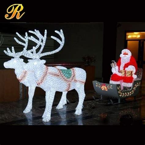 led lighted santa claus with reindeer sleigh buy santa