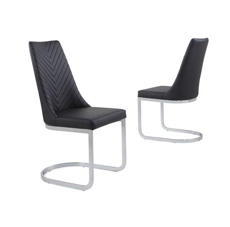 Curved Dining Chairs Black Faux Leather Dining Chair With Curved Leg Homegenies