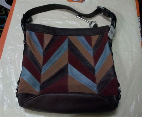 Fossil Patchwork Bag - prettytreasure2u fossil handbag maddox leather patchwork