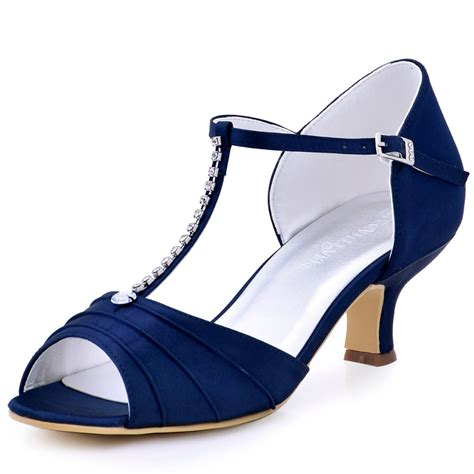 Blue Wedding Shoes For Low Heel by Shoes Navy Blue Low Heel Rhinestone T Pumps