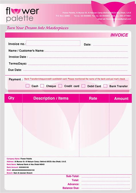 florist invoice template flower palette projects by haidee eng bagatsolon at