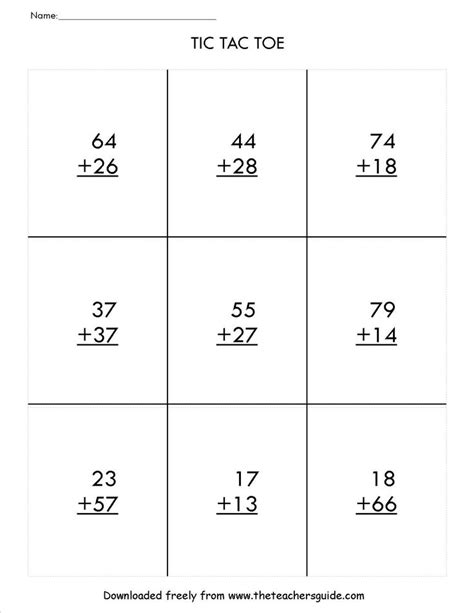 digit addition  regrouping tic tac toe game math
