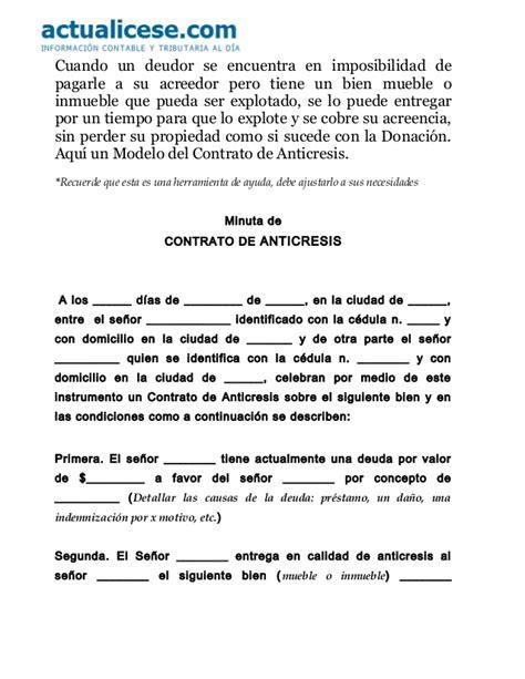 formato modelo o ejemplo de contrato de asimilados a salarios contrato de anticresis