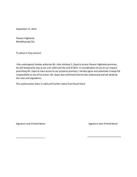 authorization letters authorization letter