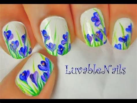 tulip flower nail art youtube spring crocus flowers nail art by luvablenails youtube