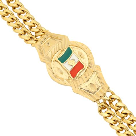 Mens 14k Gold Plated Mexican Flag Double Cuban Link Curb Bracelet   eBay