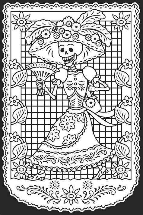 la catrina coloring pages free day of the dead dia de los muertos stained glass coloring