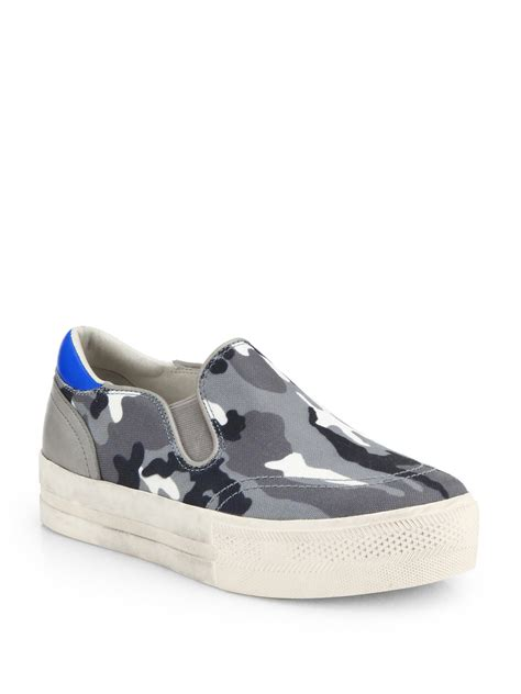s laceless sneakers ash jungle camouflageprint canvas laceless sneakers in