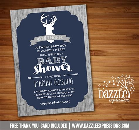 free printable rustic thank you cards printable rustic oh deer baby shower invitation wood