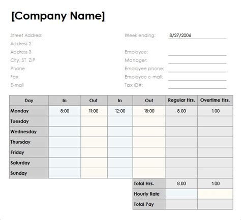 employee timesheet template free free simple excel employee timesheet template 1726