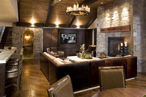 sofa rustikal open basement ceiling rustic with lighting traditional