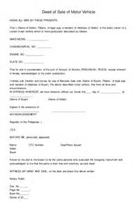 deed of sale of motor vehicle form