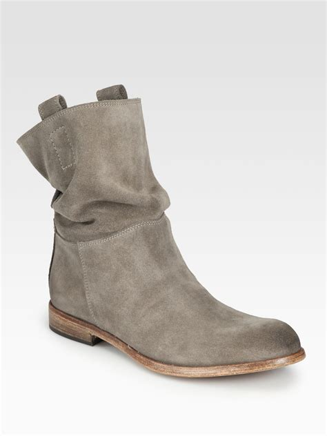 alberto fermani umbria suede slouchy boots in gray lyst