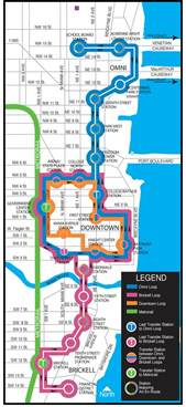 Miami Metromover Map by Miami Metromover Map Mapsof Net