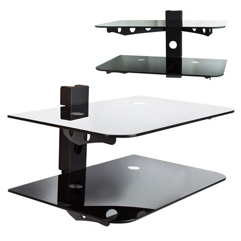 Cable Box Wall Shelf by 2 Tier Wall Mount Component Shelf Av Dvd Cable Box