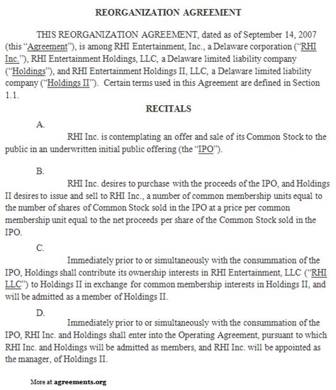 reorganization plan template reorganization agreement sle reorganization agreement