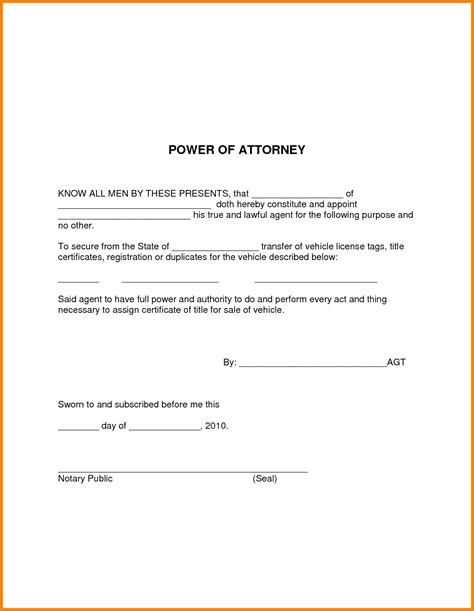 business power of attorney template simple power of attorney template business template