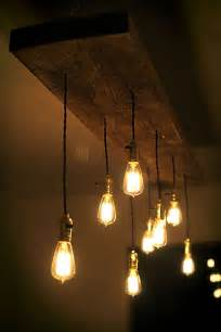 hanging chandelier light fixture diy reclaimed lumber hanging edison bulb chandelier