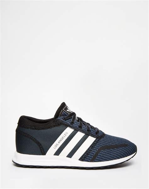 Jaket Parasut Adidas Black Blue lyst adidas originals originals black white los angeles trainers in blue