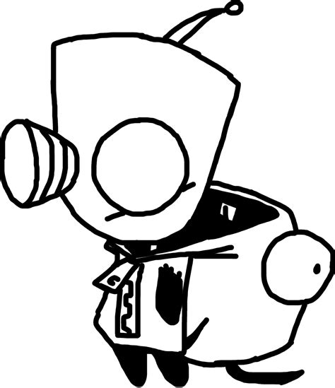 Invader Zim Gir Outline 2 By Michael J Caboose On Deviantart Gir Coloring Pages