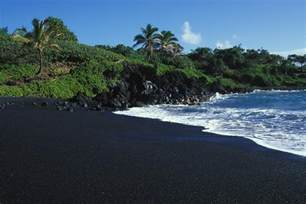 volcanic sand black volcanic sand beach on hawaiis photograph by paul